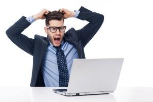 Shocked male office worker